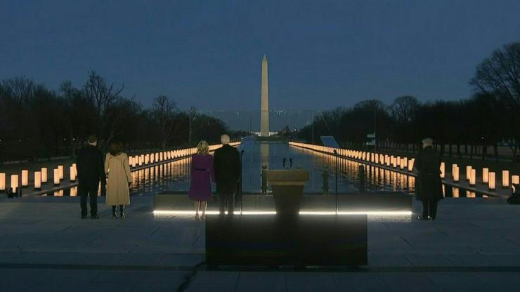President-elect Joe Biden signals a new tone for the US government by leading a powerful tribute to the 400,000 Americans lost to Covid-19 as he arrives in Washington on the eve of his inauguration.