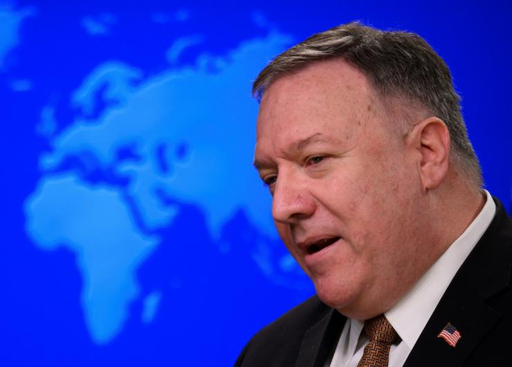 US Secretary of State Mike Pompeo, seen in March 2020, has declared that China is carrying out genocide against the mostly Muslim Uighur people