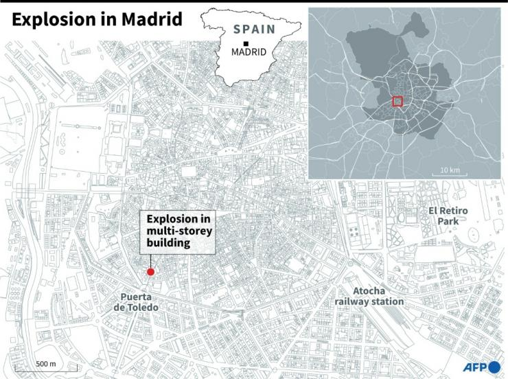 Map of Madrid locating a multi-storey building which hit by a deadly explosion on Wednesday.