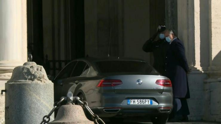 IMAGES Italian PM Giuseppe Conte arrives at the presidential palace, the Quirinale, to resign.