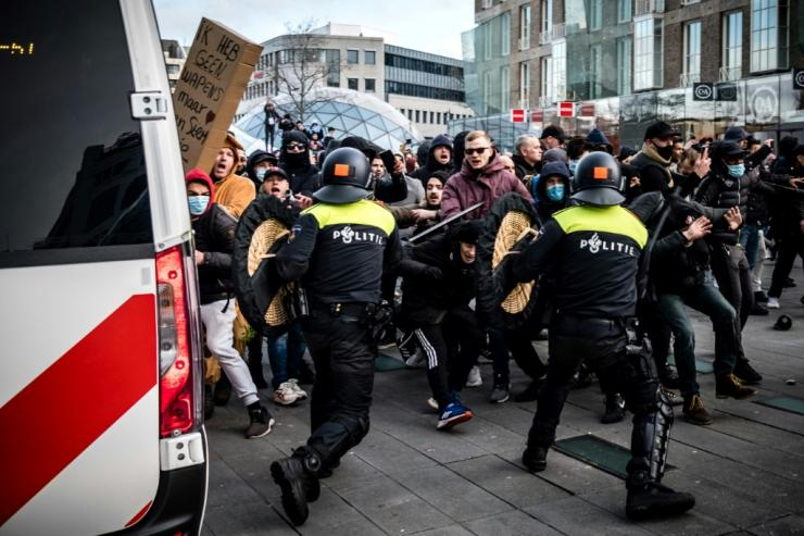 Protesters frustrated by coronavirus restrictions have clashed with police in the Netherlands