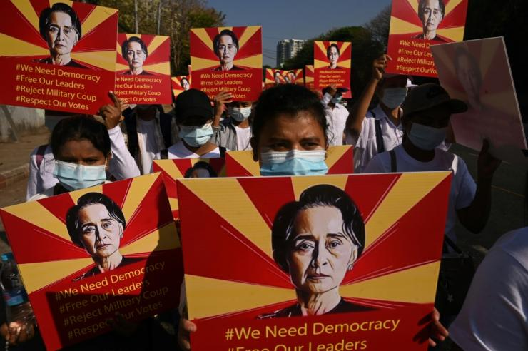 Suu Kyi has not been seen in public since she was detained at the start of February