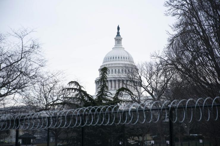 The heavily fortified US Capitol building, where the impeachment trial of former president Donald Trump is taking place