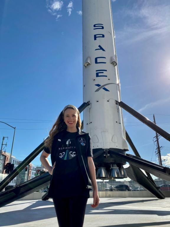 This dateless photo offer of ALSAC received by AFP on February 22, 2021 shows Hawthorne, a cancer survivor, posing for a photo when visiting the SpaceX facility in Hawthorne, California.
