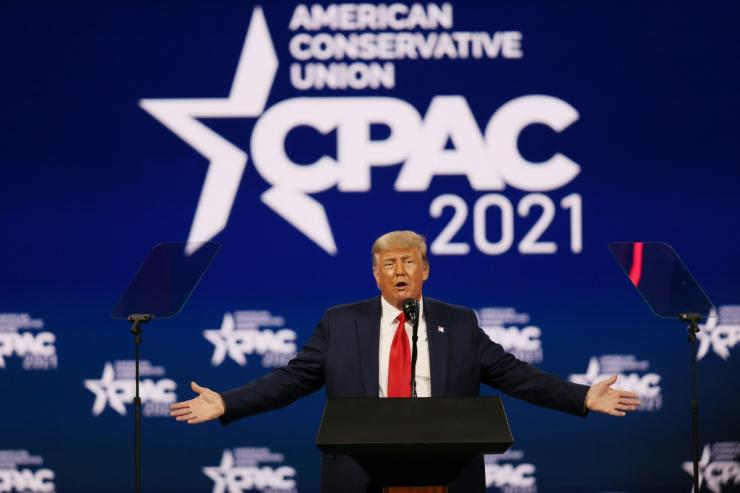 Former president Donald Trump addresses the Conservative Political Action Conference in Orlando, Florida