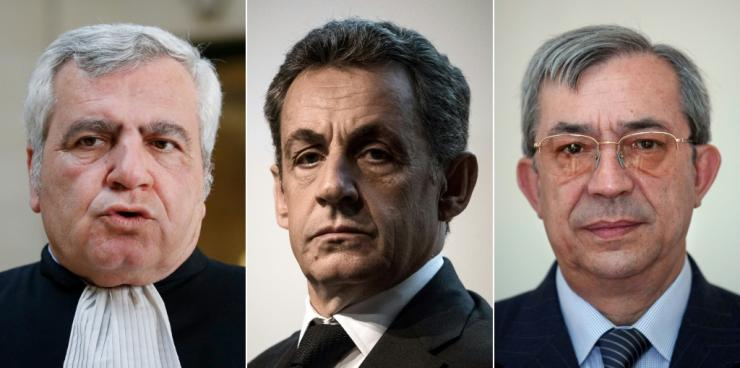 Thierry Elzok (L), Nicolas Sarkozy (C), and Gilbert Azibert (R) can each face four years' imprisonment if convicted.