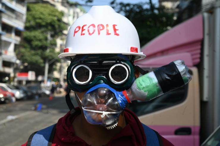 Unarmed protesters have been making their own protective equipment