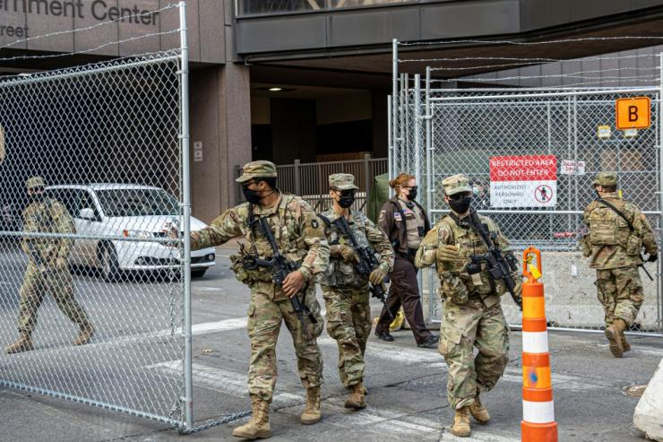 National Guard troops provide security at the courthouse where a Minneapolis police officer is on trial for the death of George Floyd