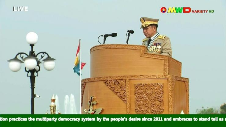 Myanmar's military regime stages a major show of force for its annual Armed Forces Day parade, as security forces violently suppress pro-democracy protests in cities across the country.