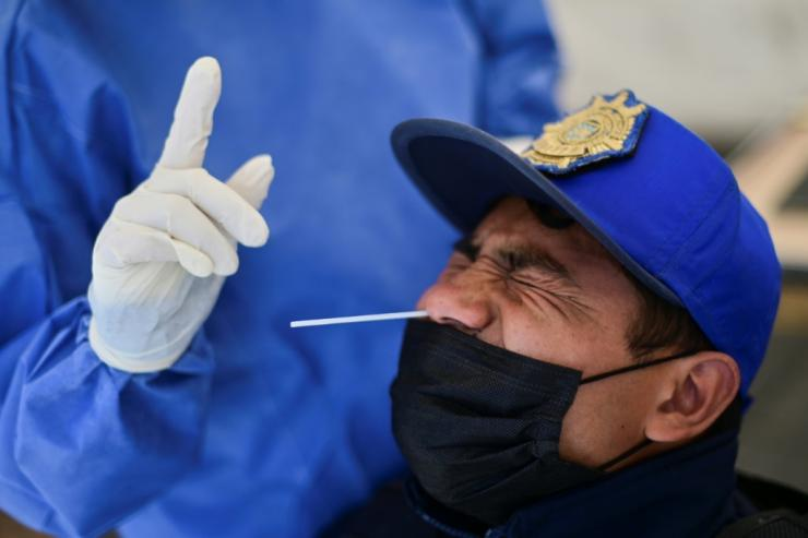 A man gets a Covid test in Mexico City