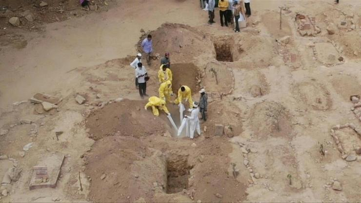 Graveyards and crematoriums across India are struggling to cope with the surging number of deaths as the nation of 1.3 billion people battles a raging coronavirus outbreak.
