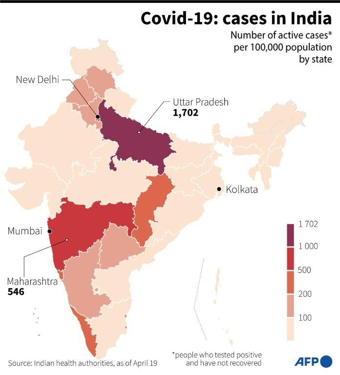 Map showing the number of Covid-19 active cases per 100,000 population by state in India, based on data from health authorities on April 19, 2021