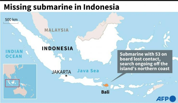 Map of Indonesia locating Bali, where a search is ongoing off the northern coast for a submarine that lost contact Wednesday.