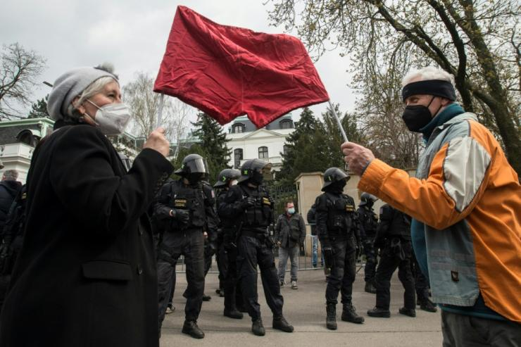 The Czech accusations against Moscow led to protests ouside Russia's Prague embassy over the weekend