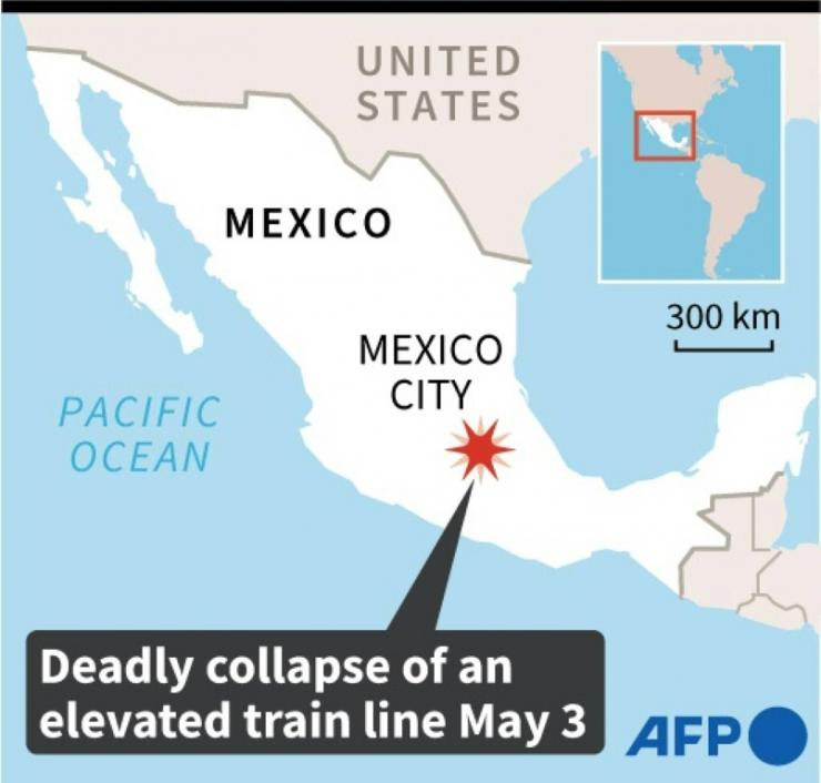 A map of Mexico City where a part of the elevated subway track collapsed on Monday, causing casualties.