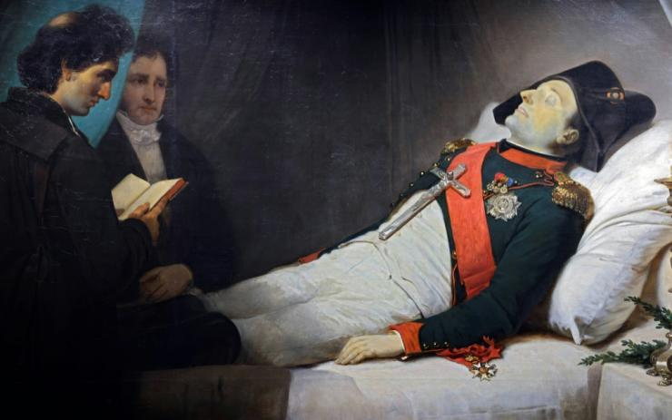 A painting by French artist Jean-Baptiste Mauzaisse, exhibited at the museum at the Invalides monument in Paris, depicts Napoleon on his death bed