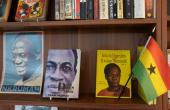 Books by author Kwame Nkrumah are displayed on a shelf in the Library of Africa and the African Diaspora (LOATAD) in Accra