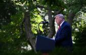US President Donald Trump announces new action against China in a news conference in the Rose Garden of the White House