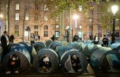 Volunteers had helped set up around 500 blue tents at the Place de la Republique in the heart of the French capital late Monday